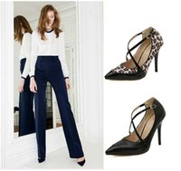 Wholesale 2014 New Fashion Women Pumps Pointed Toe High Heels Wedding Shoes Leopard Shoes Women CM Size