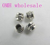 Wholesale OMH g x4 mm Retro Jewelry accessories Zinc alloy big hole round European space beads for bracelet PJ193
