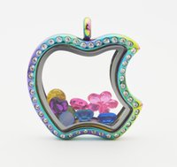 South American apple locket - Stainless Steel CZ Rainbow Apple Floating Glass Memory Locket CZ Apple Floating Locket Charm