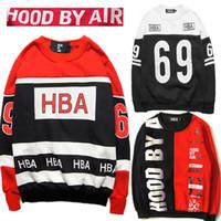 air ribs - HBA Hood By Air Baseball Sweatshirts Print Rib Cotton Thick Sweatshirts Hip Hop Skateboard Couples Sports Racing Sweatshirts