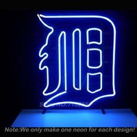 Wholesale DETROIT TIGER LOGO Neon Light Sign Decorate Real Glass Tube Neon Bulbs Recreation Room Garage Sign Neon Signs Store Display19x15