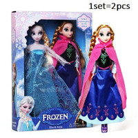 Wholesale Retail frozen dolls cm inch frozen elsa anna toy doll action figures plush toy frozen dolls Cheap Christmas Gift Real lashes six movable