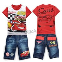 attract boy - Retail attracted cotton car tshirt and oxford jeans lovely cute children clothing set