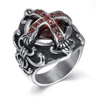 band ruby - PrettyBaby New Fashion jewelry Gothic Cross Vampire Ruby Ring Unique Men Stainless steel Skull