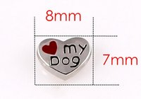 Charms red heart charm - Cute Red My Dog Floating Charms DIY Heart Charms Fit For Glass Locket