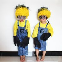 Wholesale New Children s Minion Costume Halloween Anime Mini Despicable Me Cosplay Costumes Suits Boys Girls Kids Party Clothes