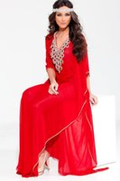 Cheap 2016 V-Neck Red Formal Evening Prom Dresses Beads Embroidery Occasion Party Gowns Kaftan Arabic Dubai Abaya Dresses