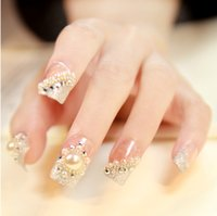 Cheap Wholesale-Luxury French Pearl false nails 24pcs glue-on fingernails fashion Wedding party club Beauty Fake Nail Art tips Stickers tools