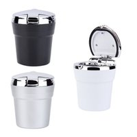 Wholesale Durable portable car ashtray car interiors Home frame set black dolly travel cigarette ash holder LED lamp ashtray
