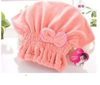 Wholesale Deal cm polyester mix colors bowknot shower cap bath cap towel hotel home travel bathroom articles