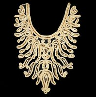 sequin applique patch - 15pieces Craft Gold Thread Flower Sequin Embroidery Lace Patches Decorated Sewing Necklace Collar Applique Trims cm cm T526