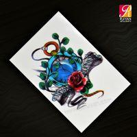 beautiful flower tattoos - 200 Pieces Japan Korea Design Upper Arm Tattoo Sticker Temporary Beautiful Flower Colorful Tattoo AD