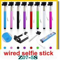 Wholesale NEW Z07 Plus s z07 plus Extendable Monopod Wired Selfie Stick groove Tripod Handheld Icanan Cable Take Pole for iphone IOS Android