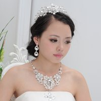 Wholesale 2016 Bridal Jewelry Wedding Bridal Rhinestone Accessories Necklace and Earring Ear Stud Style Sets Silver Plated New Cheap In Stock