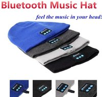 Wholesale Strip Bluetooth Music Hat Soft Warm Beanie Cap with Stereo Headphone Headset Speaker Wireless Microphone with retail box