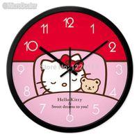 analog clock themes - 12 inch Circular Metal Wall Clock Cartoon Theme Silent Quartz Watch Creative Hello Kitty Round Timepiece Home Decor MDWC023