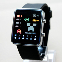 plastic strap - LED Touch screen minecraft watches for men women cartoon luxury wristwatch light plastic watch strap fashion watch colors MF004
