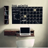Wholesale 2016 hot sale cm cm cm PVC Monthly Planner Calendar Blackboard Wall Sticker Chalkboard Decal New