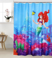 Wholesale Polyester terylene blue mermaid little yellow fish waterproof shower curtain thicken curtain bathroom curtain cm cm