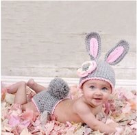 Unisex Winter Crochet Hats Free DHL Baby Infants Grey Rabbit Crocheted Hats Outfit Cartoon Hand Kintted Hat+Pand For Photography Props Christmas Gift Factory Price