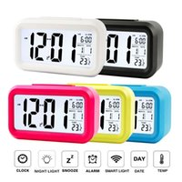 Wholesale New Digital Backlight Time Date Temperature Display Calendar Thermometer LED Alarm Clock Repeating Snooze Light activated Sensor