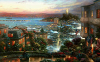 Wholesale Thomas kinkade city fog road HOME WALL Decor Prints Realistic Oil Painting Printed On Canvas