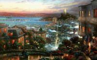 Wholesale Thomas kinkade city fog road HOME WALL Decor Prints Realistic Oil Painting Printed On Canvas