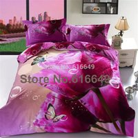 Cheap 2015 New pink rose 3D bedding set 4pcs 100%cotton flower print wedding bed set duvet cover bedspread bedclothes queen king size