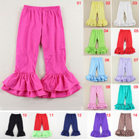 Wholesale 14 Colors Pure Cotton Soft Children Boot Cut Trousers Candy Colors Solid Baby Toddler Pants Children Girls Baby Ruffled Pants M251