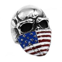Wholesale American Flag Infidel Skull Ring Stainless Steel Jewelry Classic Vintage Motor Biker Men Ring SWR0368B