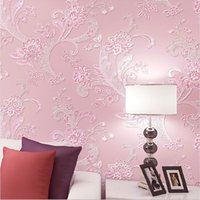 Wholesale Europe Floral Wallpaper D Embossed Non woven Wall Covering Decoration for Living Room TV Background Wall Bedroom Wedding Wall Paper