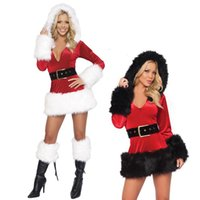 Wholesale Sexy Adult Santa Costume Adult Mrs Claus Outfit Womens Christmas Fancy Dress Cosplay HAT BS143 one size S L