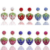 Cheap DIY Shamballa Ball Double Faced Strawberry Stud Earrings Brand Jewelry Candy Piercing Face to Face Statement Crystal Earrings a951