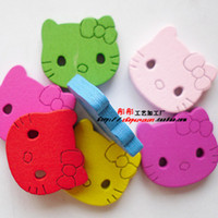 Wholesale Min order is M003 holes hello kitty mixed wooden Buttons lovely painted wood buttons handmade buttons craft kids