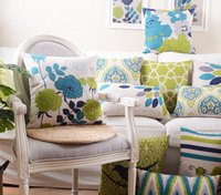 american seating chairs - Green blue flower geometric pillow almofadas case seat chair car bed american country cushion cover home decore