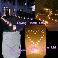 Cheap 20PCS White Hearts Hour Tea Light Bag Wedding Outdoor Path Candle Paper Lantern Bag For BBQ Christmas Party Lighting Decoration