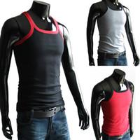 Wholesale Hot New Fashion Mens Round Neck Crew Neck T Shirts Sleeveless Cotton Boys Sport GYM Vest Solid Tops L XL XXL Large Elasticity
