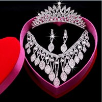 Wholesale Wedding Accessories Crown Necklace Earrings Pieces Accessories Bridal Wedding Jewelry Sets