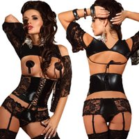 girdles garters - New Sexy Women Lingerie Set Hot Faux Leather Lace Corset Open Bra Bustier Shapewear Girdle Panties Garter Night Clubwear Black GI014
