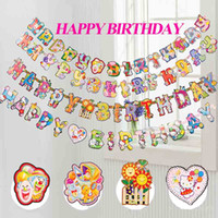 Wholesale Cartoon Color HAPPY BIRTHDAY Letters Scroll Paper Flags Birthday Party Hanging Banners Decoration Festive Party Supplies SD460