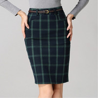 bandage skirts - High Quality Fashion Plaid Woolen Skirts Womens Autumn Winter Office Knee Length Bandage High Waist Pencil Skirt Yellow Red