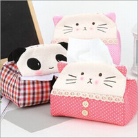 Wholesale Panda Kitty Cartoon Plush Cover Tissue Case Box Pouch Towel Napkin Paper Pumping BOX Holder Case BOX Napkin BOX Case
