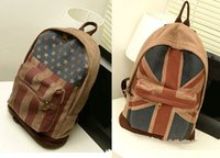 Wholesale Fashion Vintage bags classic UK flag backpacks canvas school women men bag waterproof dating traveling Climbing casual styles BB004