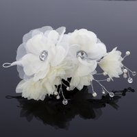 Wholesale Handmade Flower Crystal Bead Beautiful Fascinators Exquisite Bridal Hair Accessories Cheap Wedding Party Prom Accessories Chic