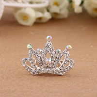 Wholesale 2015 Baby Hair Clip The New Children s Hair Accessories Crown Plum Pretty Popular Small Crystal Diamond Comb Colors Into