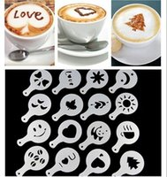 Wholesale Plastic garland mould coffee print model iron fancy coffee set Milk coffee spray flower apparatus set