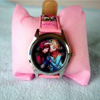 Wholesale Fashion Frozen Watches for Children PU Leather Pink Watchband with Box Cute Cartoon Watches Great Outlook New Arrival Hot Sale