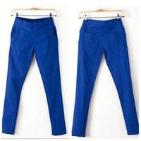 autumn royal apricot - Newest Simple Comfortable Fashion Pants Women Summer Autumn Solid Cotton Slim Pants Women Apricot Black Khaki Navy Royal White