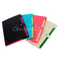 Wholesale 1Pcs Fashion Colors Plastic Portable Layers A4 Paper File Folder Cover Holder Document Business Office Supplies Top Quality