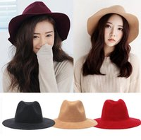 Wholesale 6 Colors Vintage Women Ladies Floppy Wide Brim Flannel Wool Felt Fedora Cloche Hat Caps Autumn Winter Fashion Hats